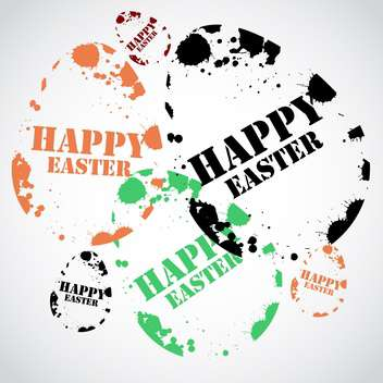 happy easter holiday stamp - vector gratuit #134135