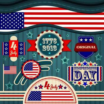 usa independence day labels - Free vector #134355