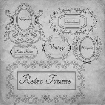 retro frame vector decoration set - Free vector #134625