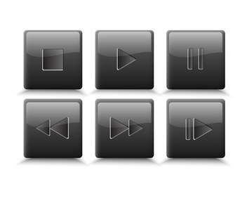 vector set of media buttons - vector gratuit #134895