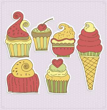 delicious cupcakes and ice-cream illustration - Free vector #135005