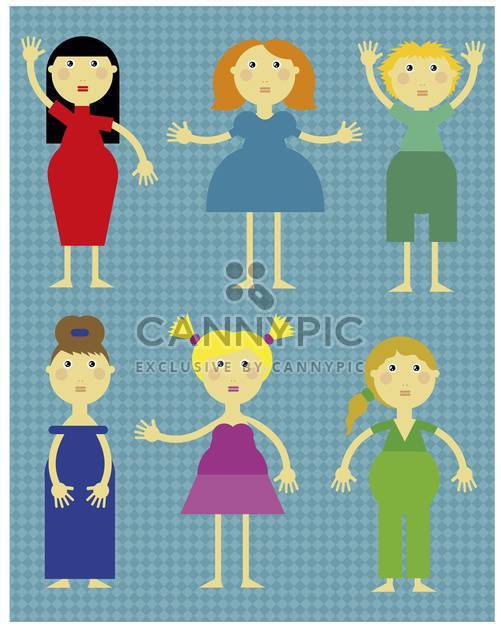 cartoon girl icons set illustration - Free vector #135035
