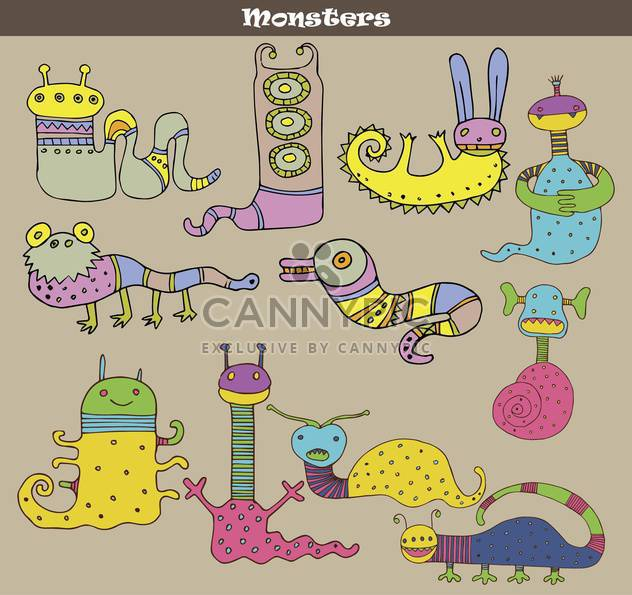 banner with multicolored cartoon monsters - Free vector #135075