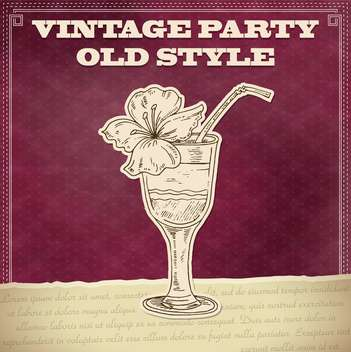 vintage party poster with cocktail - vector gratuit(e) #135165