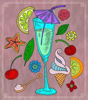 cocktail and various fruits vector illustration - бесплатный vector #135185