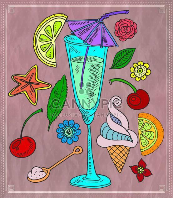 Cocktail und verschiedenen Früchten-Vektor-illustration - Kostenloses vector #135185