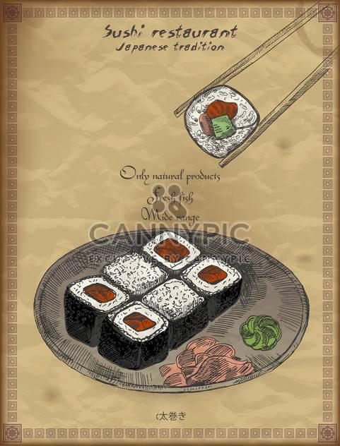 Jahrgang Poster für japanisches Restaurant-Hintergrund - Free vector #135195