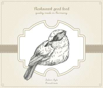 Retro style restaurant card with bird - vector #135245 gratis