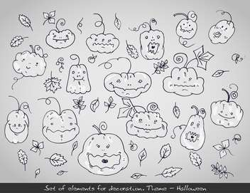 set of cartoon halloween holiday pumpkins - vector #135275 gratis