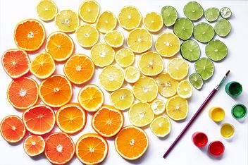 Set of citruses and paints on white background - image gratuit #136235