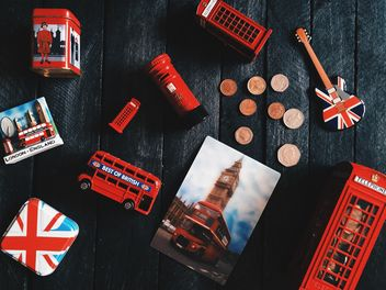 Toys symbols of England on dark wooden background - Free image #136285