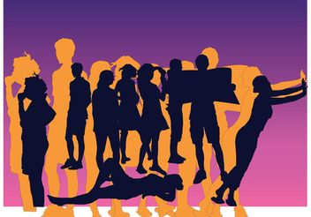 Friends Silhouettes Vectors - Free vector #138905