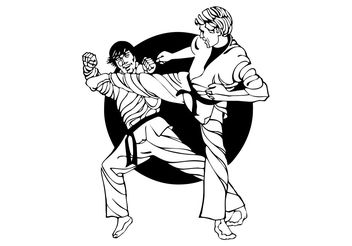 Karate Fight Graphics - vector gratuit #138985