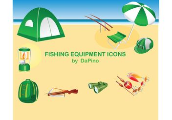 Fishing Equipment Icons - Free vector #139235