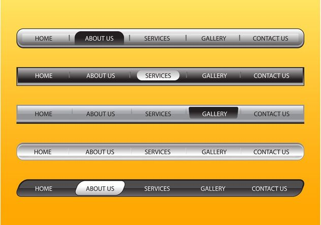 Web Navigation Bars Set - vector #139725 gratis