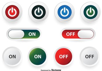 Off and On Button Set - vector gratuit #139825
