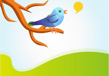 Singing Twitter Bird Vector - бесплатный vector #140485