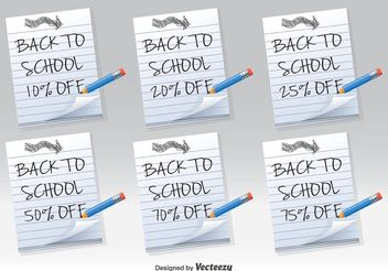 Back to School Discount Notes - бесплатный vector #140805