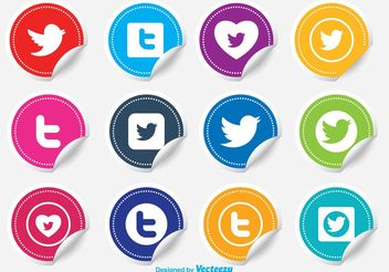 Twitter Sticker Icon Set - vector gratuit #141085