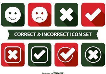 Correct and Incorrect Icon Set - Free vector #141115