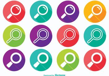 Long Shadow Search Icon Set - Kostenloses vector #141145