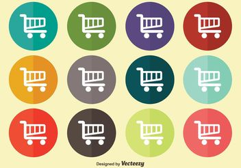 Flat Shopping Cart Icon Set - Free vector #141175