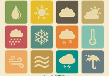 Vintage Weather Icons - Free vector #141235