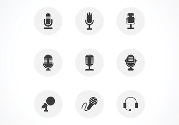 Free Black Microphones Vector Icon Set - бесплатный vector #141285