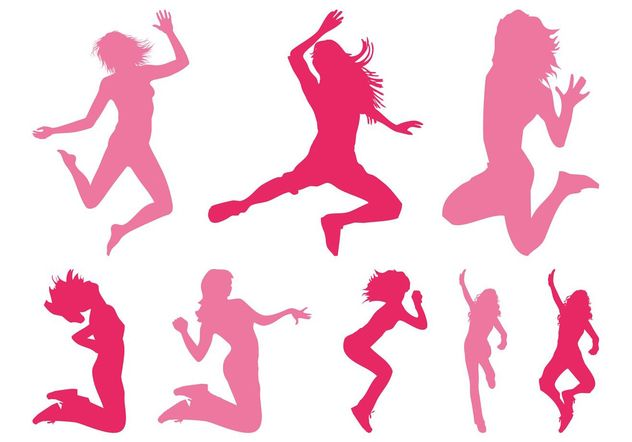 Jumping Girls Silhouettes - Free vector #141375