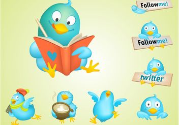 Cool Twitter Birds - vector gratuit #141785