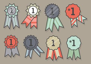 First Place Ribbon Icon Set - vector gratuit #142005