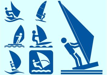 Windsurfers Icons - Free vector #142105
