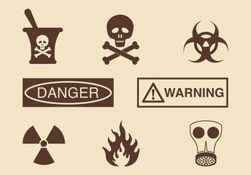 Free Danger And Warning Vector Icons - vector gratuit #142205