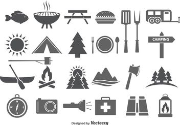 Camping & Camp Food Vector Icons - Free vector #142295