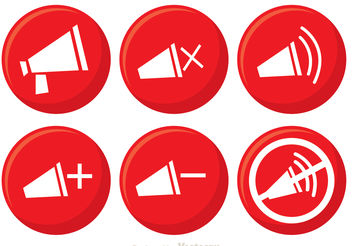 Red Speaker Button Vectors - Free vector #142335