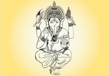 Ganesha Illustration - Free vector #143345