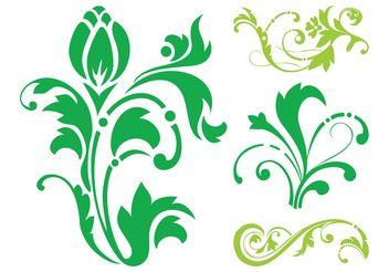 Floral Silhouettes Set - vector gratuit #143365