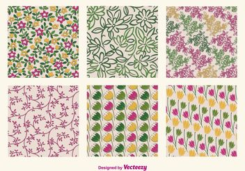 Floral Retro Patterns - Free vector #143675