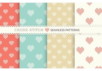 Free Cross Stitch Heart Seamless Vector Patterns - Free vector #144155