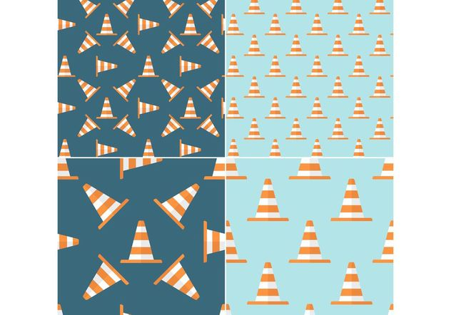 Free Orange Traffic Cone Vector Seamless Patterns - vector gratuit #144295