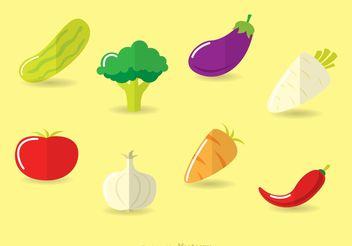Flat Vegetable Vectors Icons - Free vector #145565
