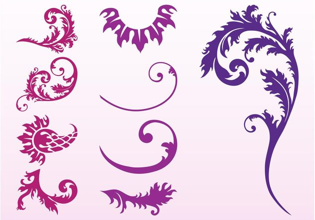 Swirling Plant Set - Free vector #145825