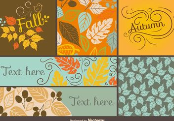 Fall and Autumn Card Vector Templates - Free vector #146015
