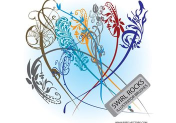 Flower Swirls - Free vector #146065