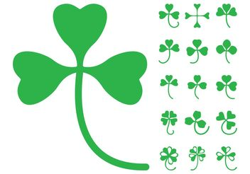 Clover Leaves Silhouettes - Free vector #146435