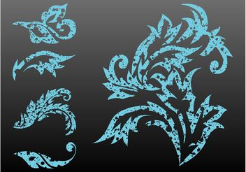 Stained Plant Scrolls - Free vector #146455