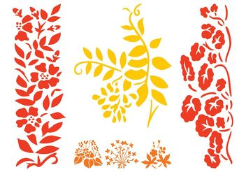 Flower Silhouettes Set - Kostenloses vector #146495