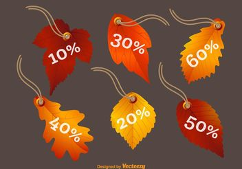 Fall Leaves Vector Price Tags - vector gratuit #146575