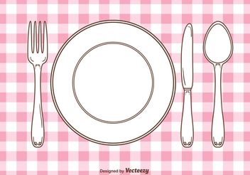Vector Gingham Dinner Table Setting - vector gratuit #147055