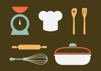 Vintage Kitchen Utensils Vectors - Free vector #147065